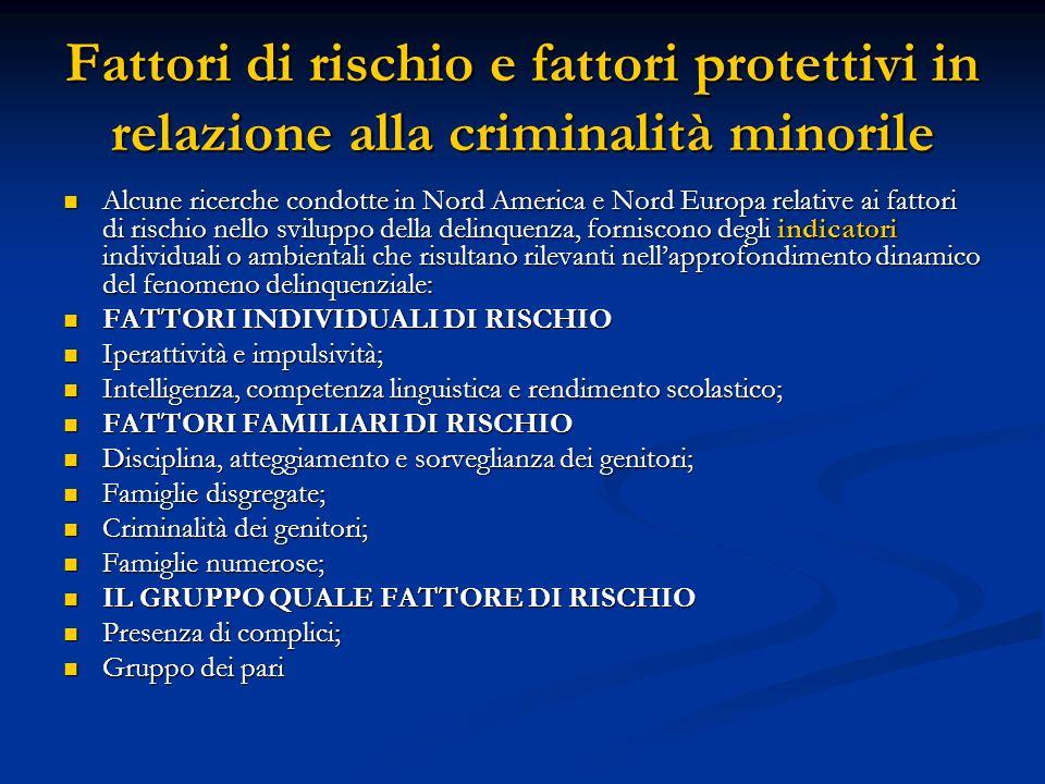 Fattori di rischio e fattori protettivi in relazione alla criminalità minorile