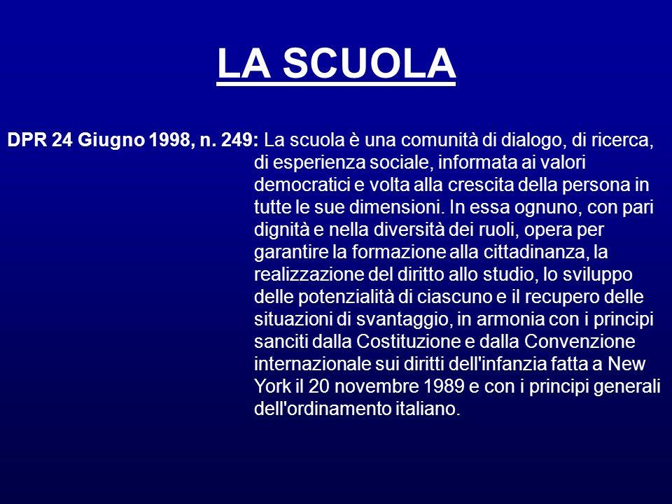 LA SCUOLADPR 24 Giugno 1998, n. 249: La scuola è una comunità di dialogo, di ricerca, di esperienza sociale, informata ai valori.