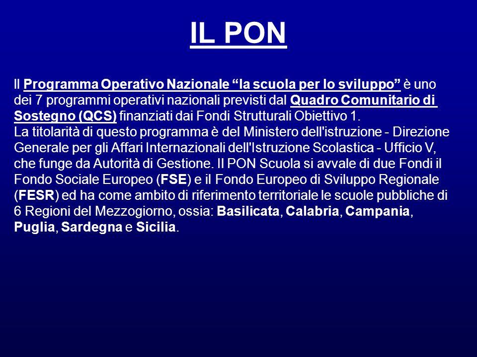 IL PONll Programma Operativo Nazionale la scuola per lo sviluppo è uno. dei 7 programmi operativi nazionali previsti dal Quadro Comunitario di.