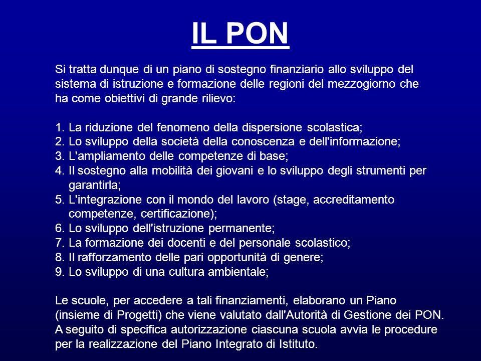 IL PON Si tratta dunque di un piano di sostegno finanziario allo sviluppo del. sistema di istruzione e formazione delle regioni del mezzogiorno che.