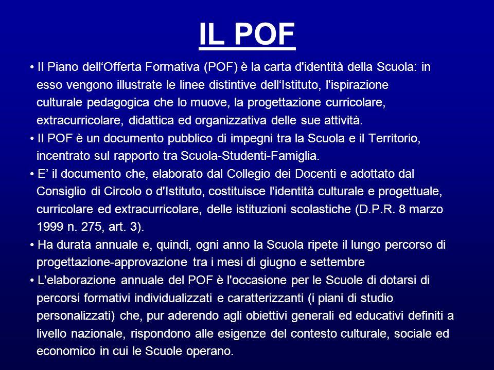 IL POF • Il Piano dell'Offerta Formativa (POF) è la carta d identità della Scuola: in.