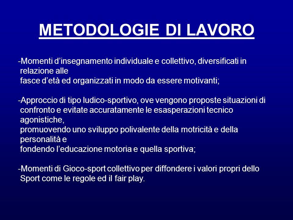 METODOLOGIE DI LAVORO Momenti d'insegnamento individuale e collettivo, diversificati in. relazione alle.