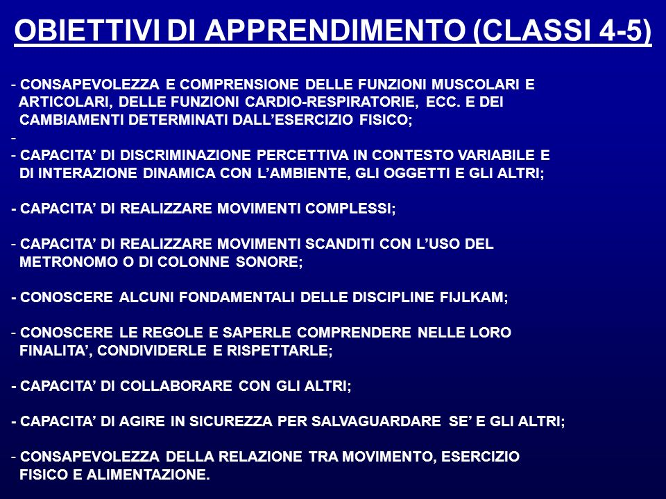 OBIETTIVI DI APPRENDIMENTO (CLASSI 4-5)