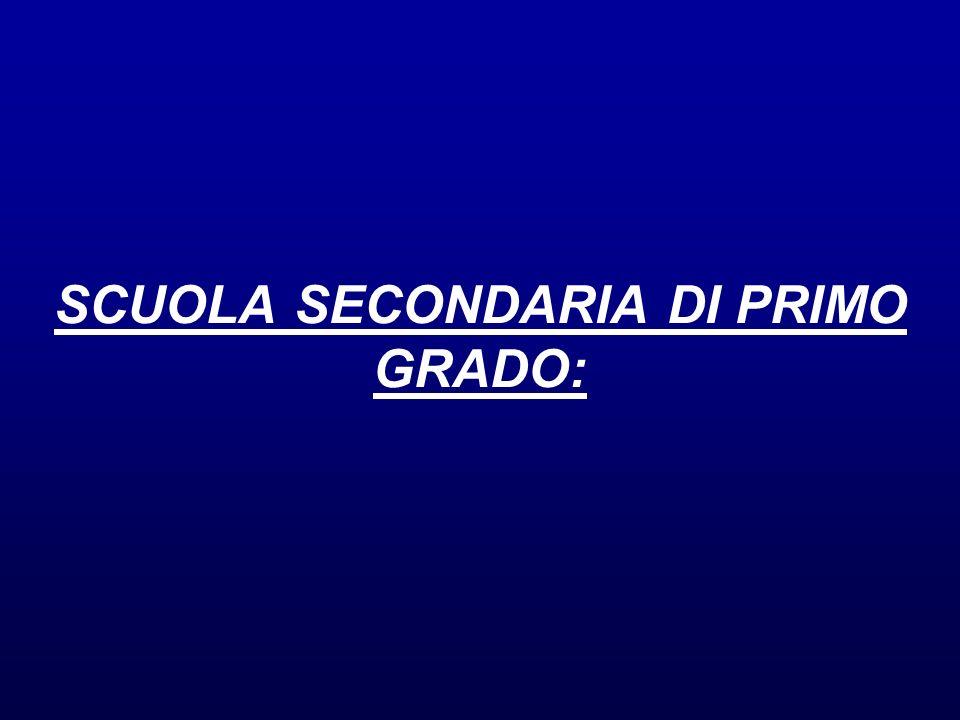 SCUOLA SECONDARIA DI PRIMO GRADO: