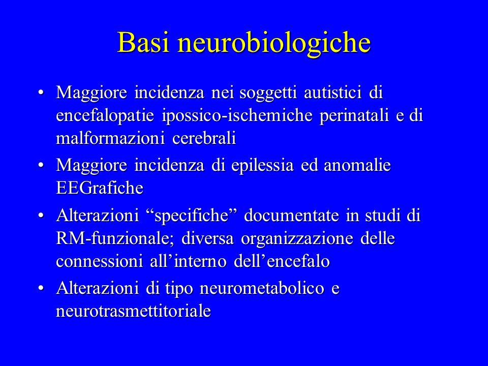 Basi neurobiologiche Maggiore incidenza nei soggetti autistici di encefalopatie ipossico-ischemiche perinatali e di malformazioni cerebrali.