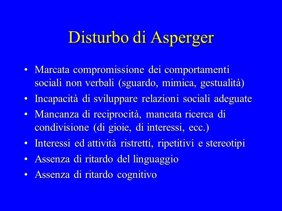 Disturbo di Asperger Marcata compromissione dei comportamenti sociali non verbali (sguardo, mimica, gestualità)