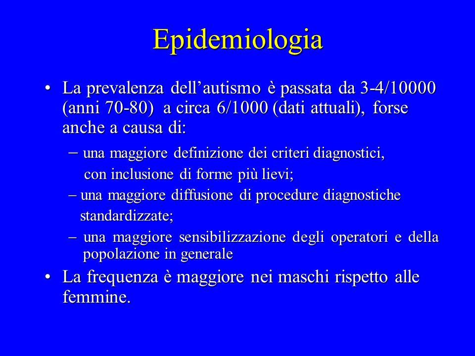 Epidemiologia La prevalenza dell'autismo è passata da 3-4/10000 (anni 70-80) a circa 6/1000 (dati attuali), forse anche a causa di: