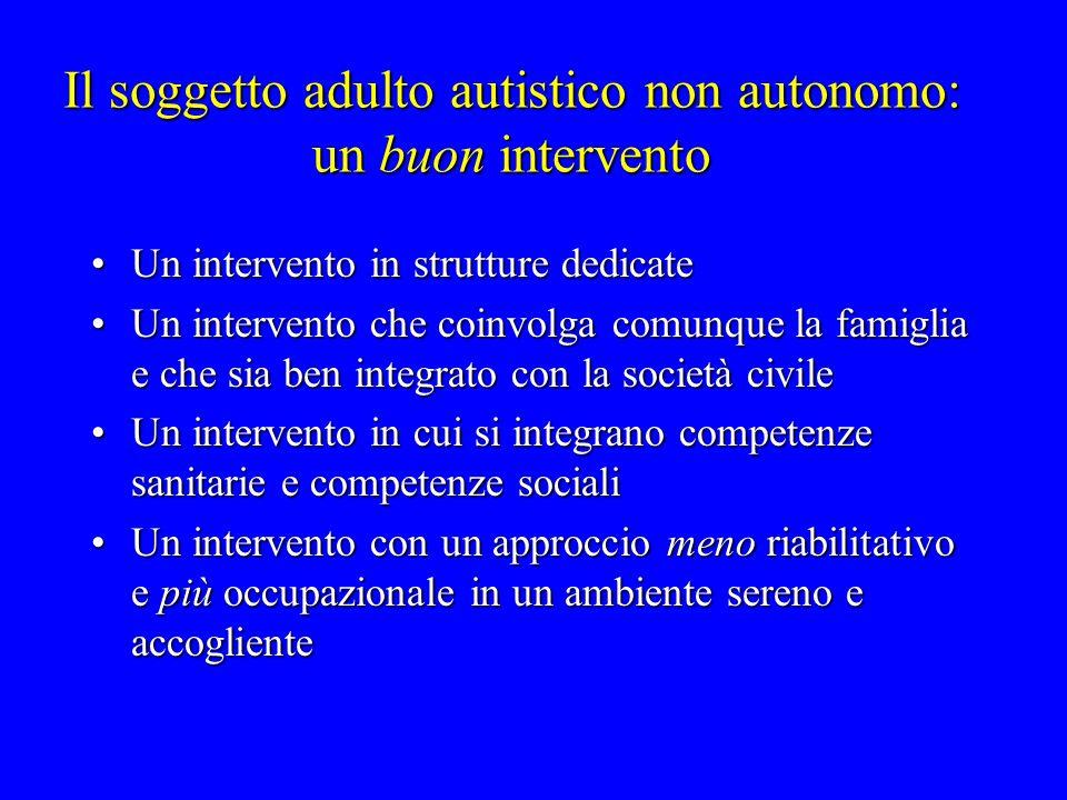 Il soggetto adulto autistico non autonomo: un buon intervento
