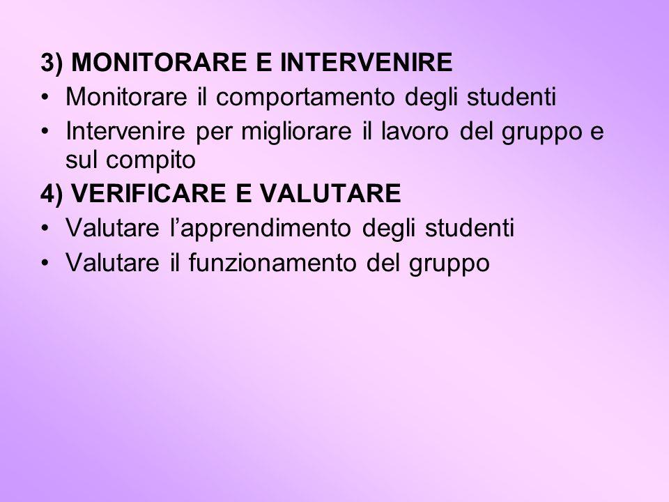 3) MONITORARE E INTERVENIRE