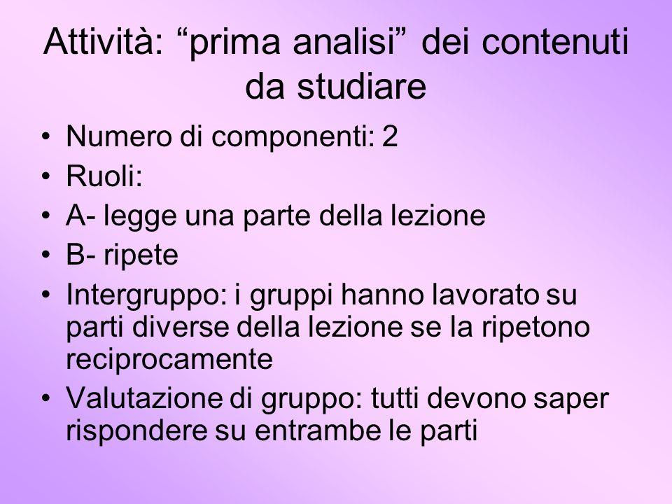 Attività: prima analisi dei contenuti da studiare
