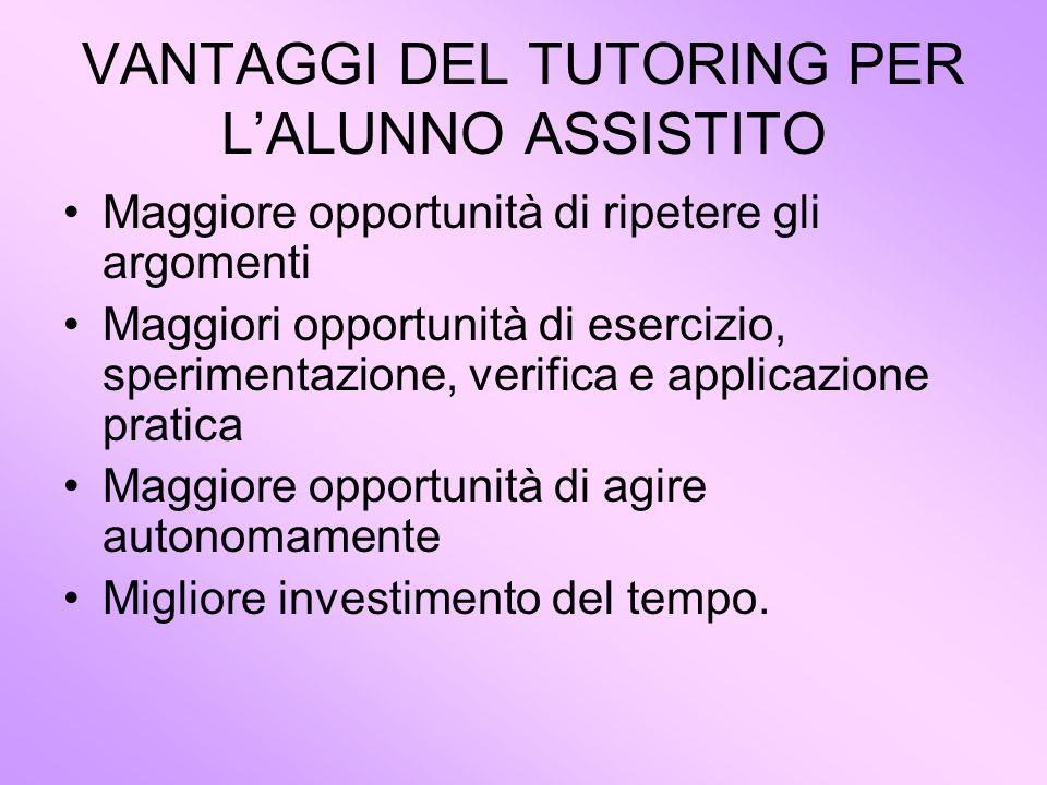 VANTAGGI DEL TUTORING PER L'ALUNNO ASSISTITO