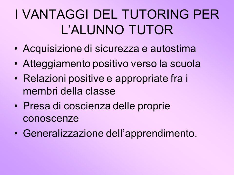 I VANTAGGI DEL TUTORING PER L'ALUNNO TUTOR