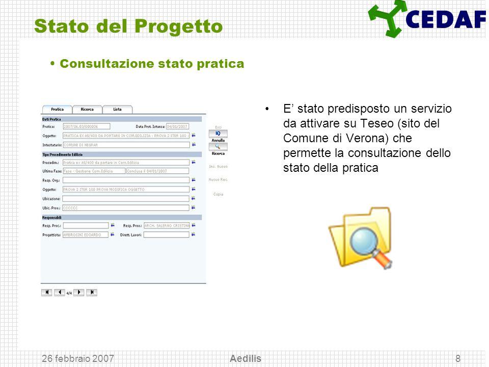 Stato del Progetto Consultazione stato pratica