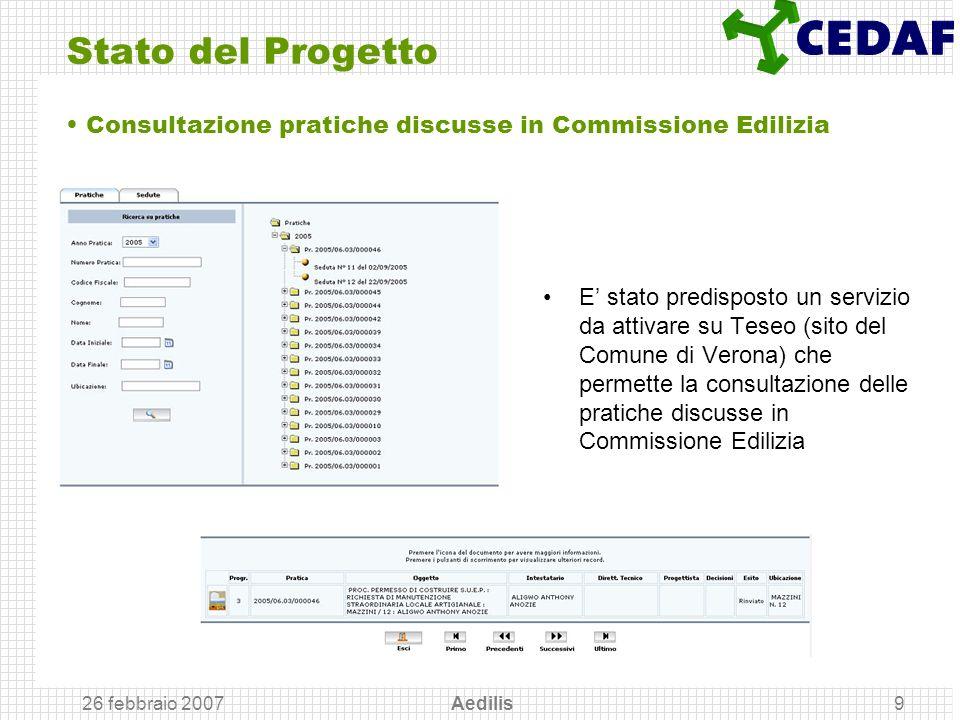 Stato del Progetto Consultazione pratiche discusse in Commissione Edilizia.