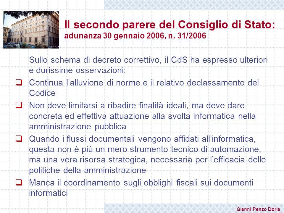 Il secondo parere del Consiglio di Stato: adunanza 30 gennaio 2006, n