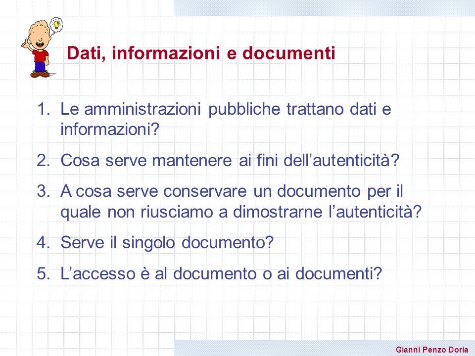 Dati, informazioni e documenti
