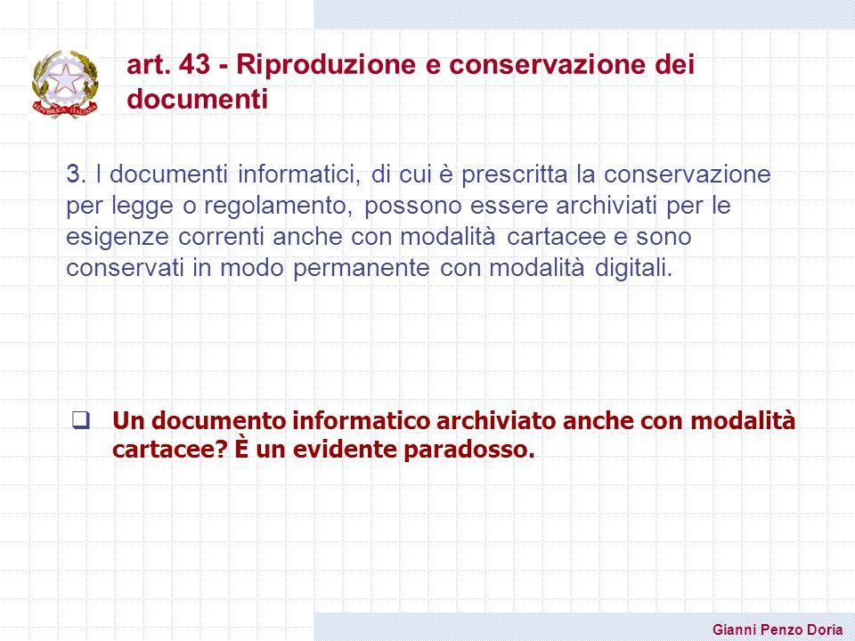 art. 43 - Riproduzione e conservazione dei documenti