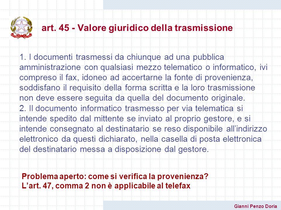 art. 45 - Valore giuridico della trasmissione