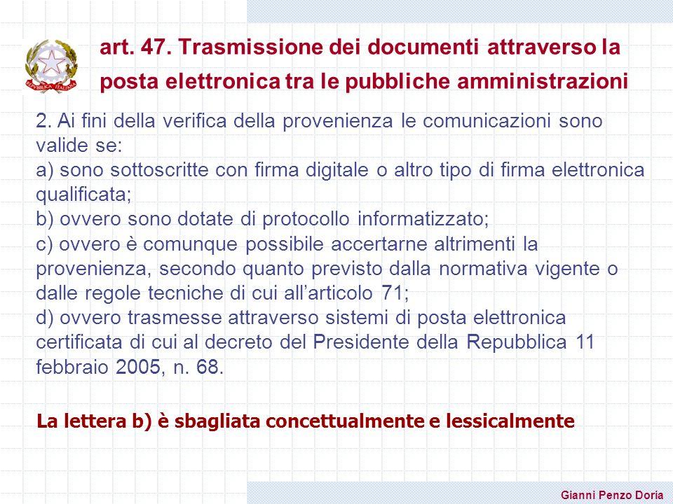 art. 47. Trasmissione dei documenti attraverso la posta elettronica tra le pubbliche amministrazioni