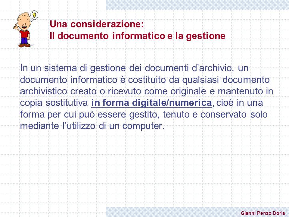 Una considerazione: Il documento informatico e la gestione
