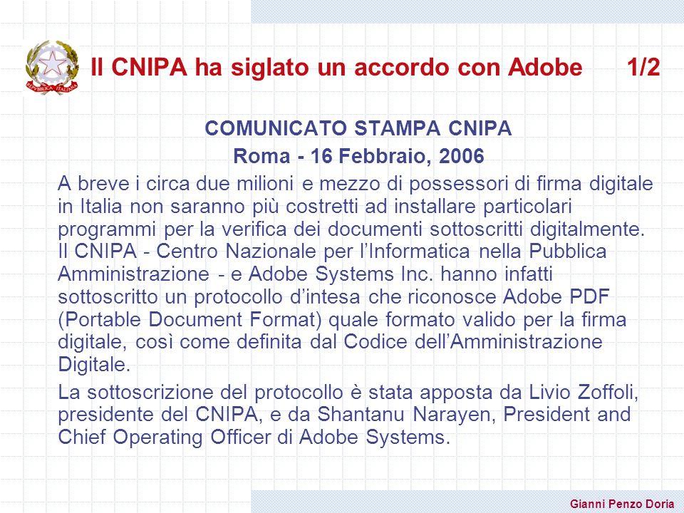 Il CNIPA ha siglato un accordo con Adobe 1/2