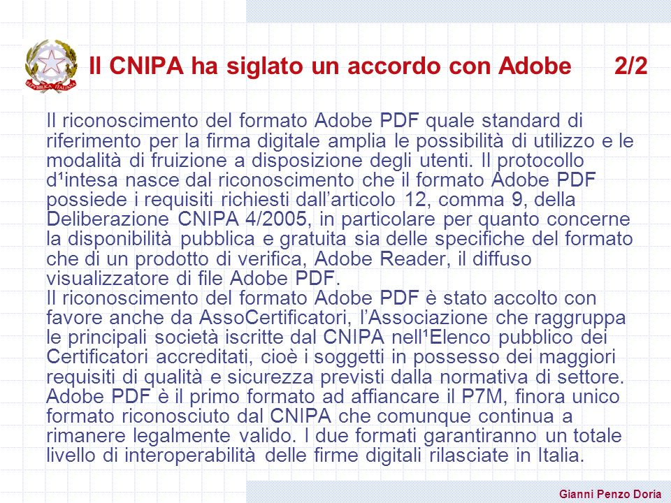 Il CNIPA ha siglato un accordo con Adobe 2/2