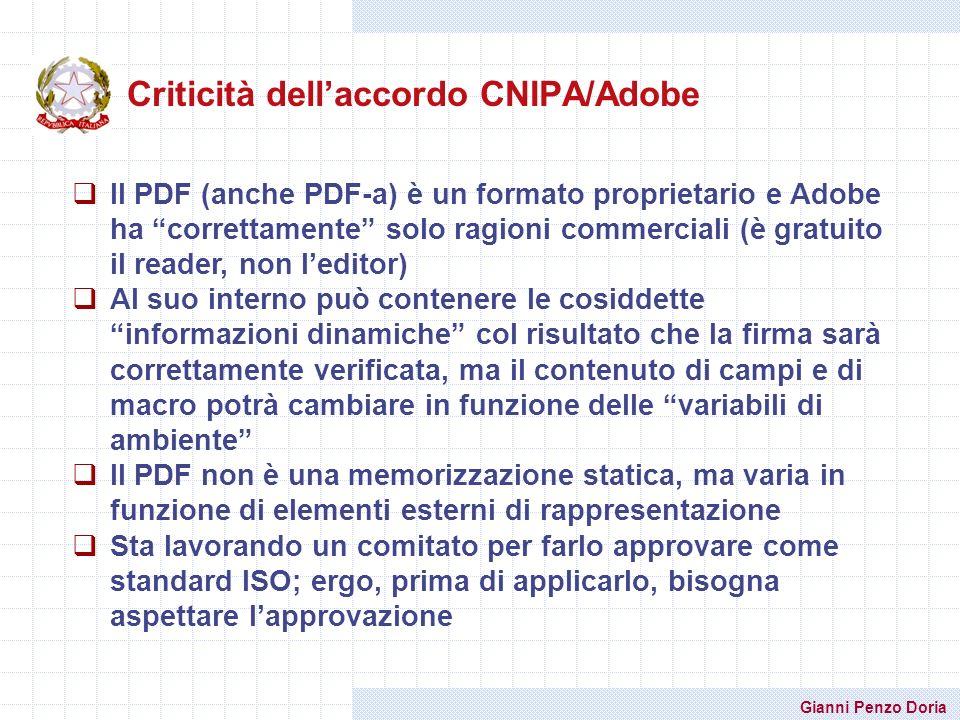 Criticità dell'accordo CNIPA/Adobe