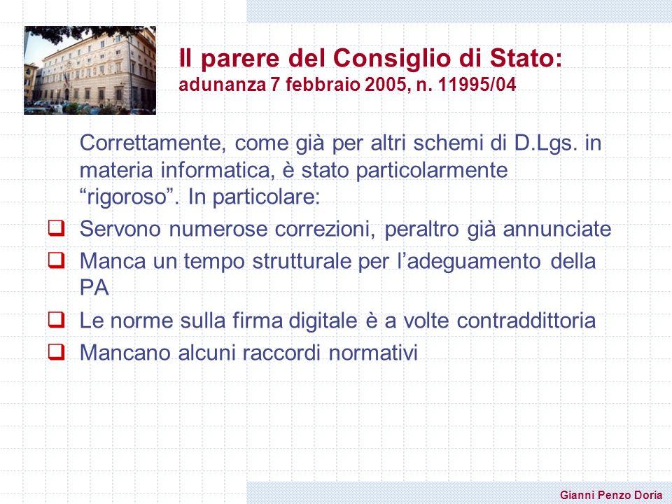 Il parere del Consiglio di Stato: adunanza 7 febbraio 2005, n. 11995/04
