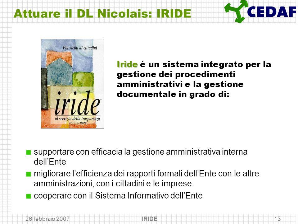 Attuare il DL Nicolais: IRIDE