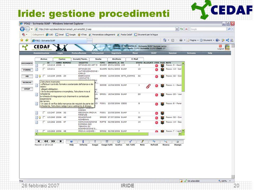 Iride: gestione procedimenti