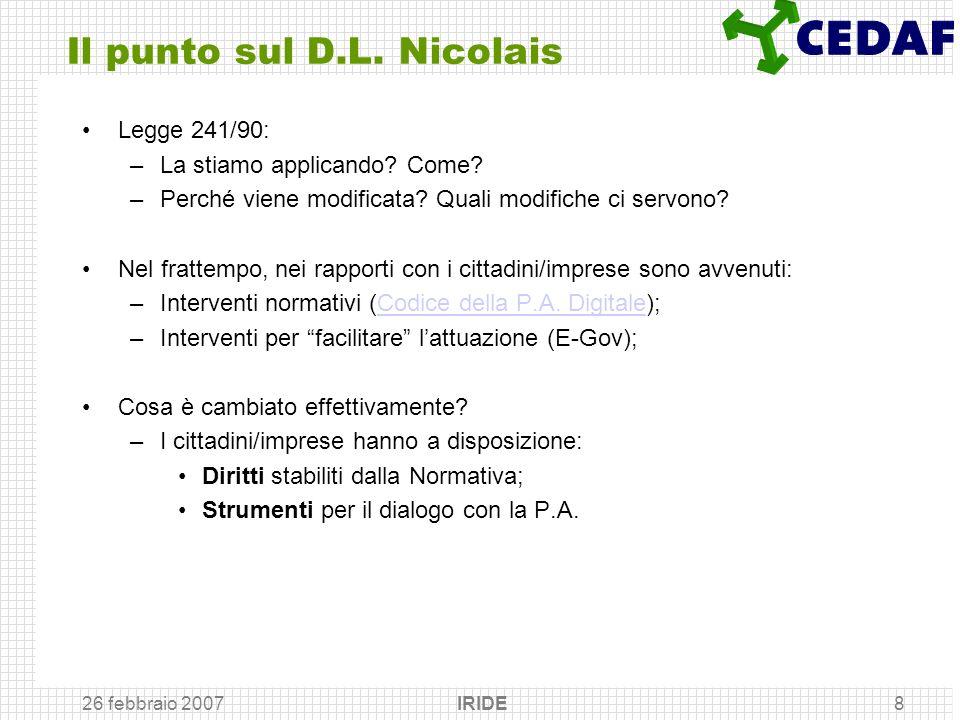 Il punto sul D.L. Nicolais