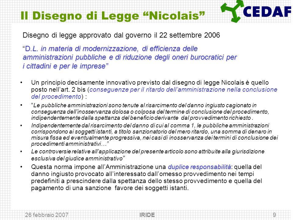 Il Disegno di Legge Nicolais