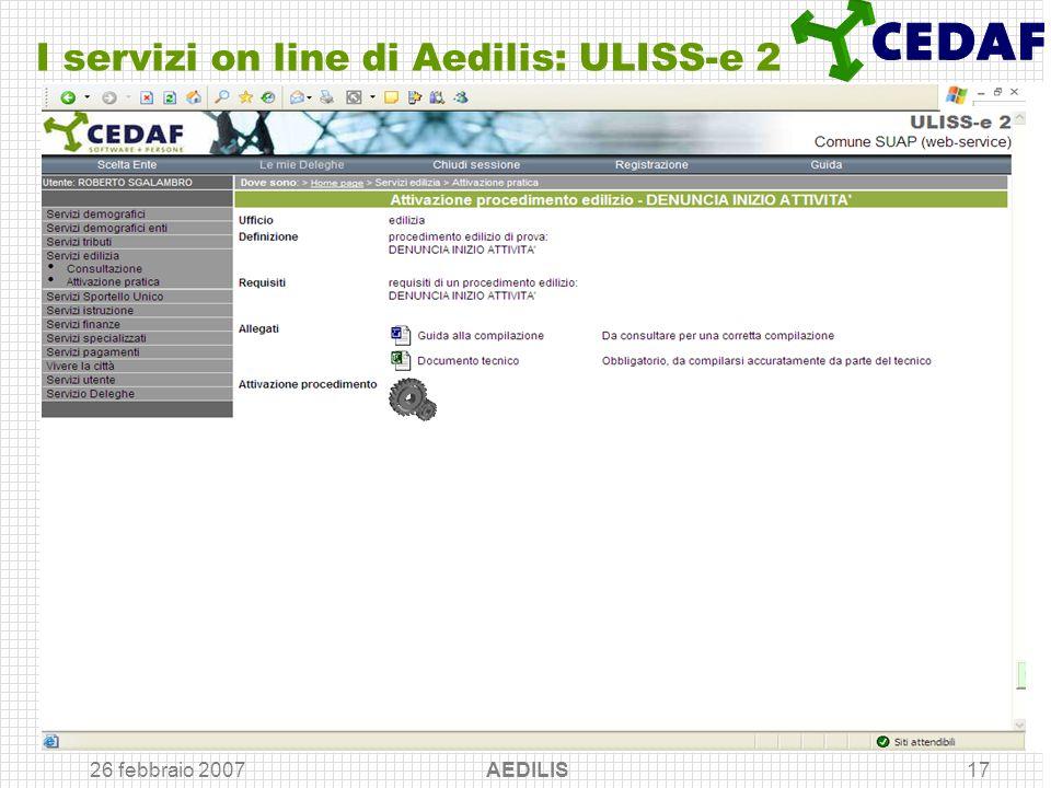 I servizi on line di Aedilis: ULISS-e 2