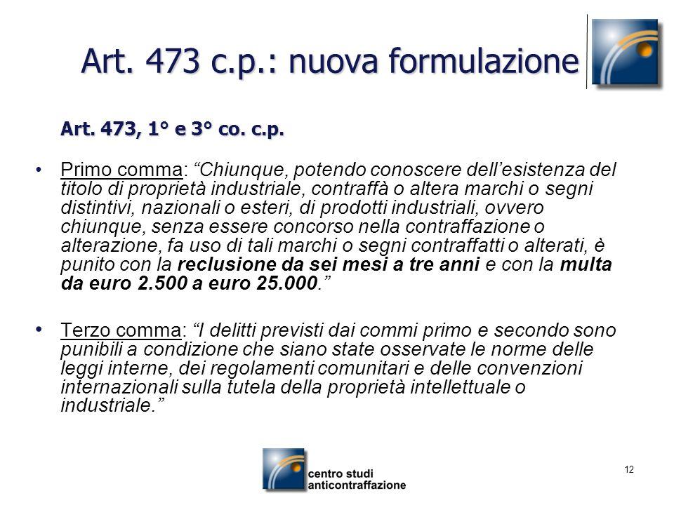 Art. 473 c.p.: nuova formulazione
