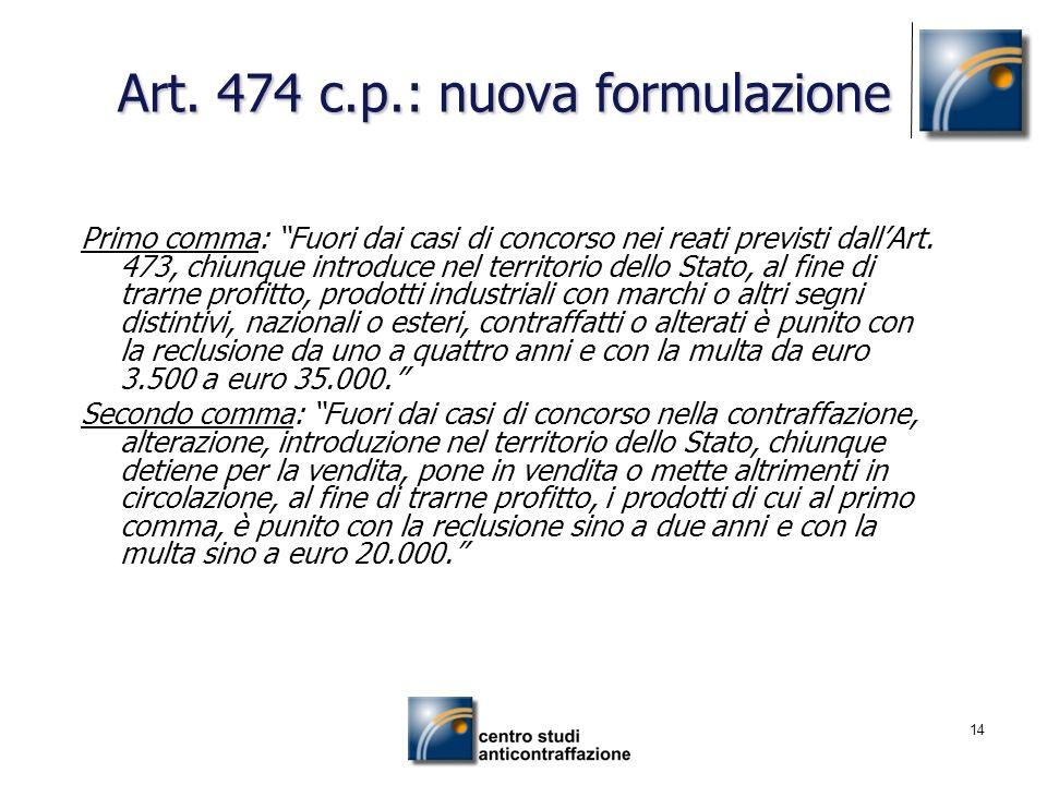 Art. 474 c.p.: nuova formulazione