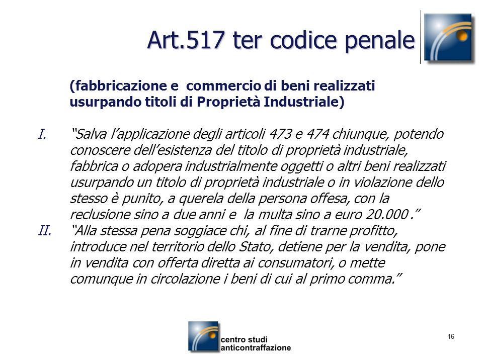 Art.517 ter codice penale (fabbricazione e commercio di beni realizzati usurpando titoli di Proprietà Industriale)