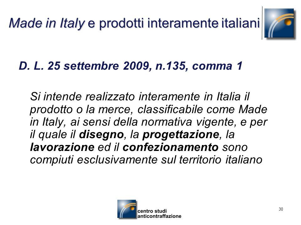 Made in Italy e prodotti interamente italiani