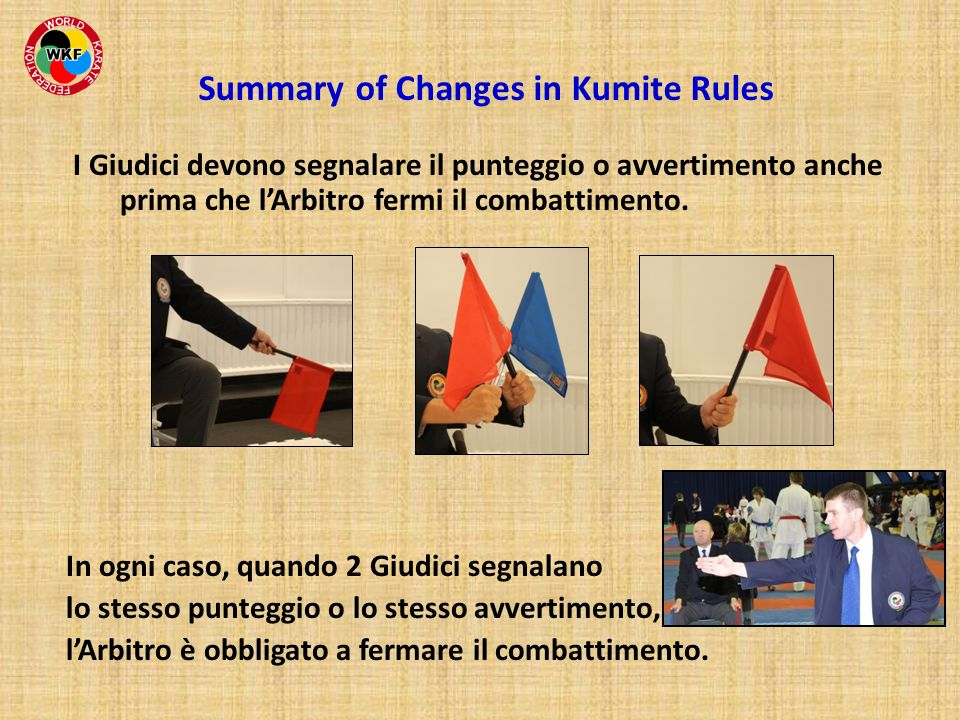 Summary of Changes in Kumite Rules