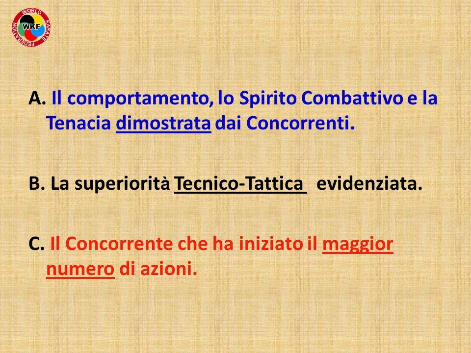 A. Il comportamento, lo Spirito Combattivo e la Tenacia dimostrata dai Concorrenti.