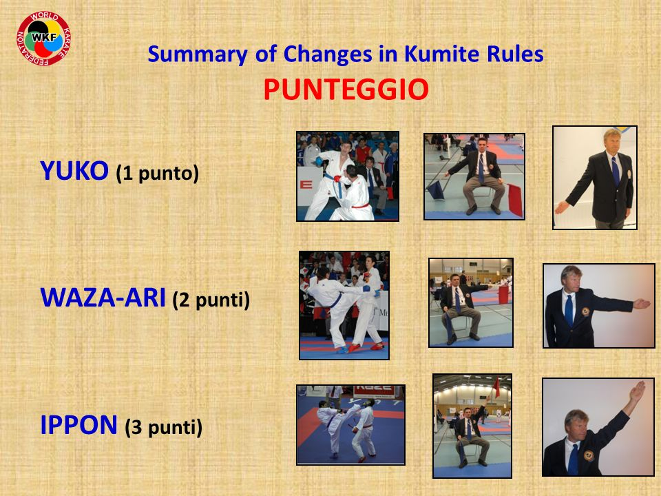 Summary of Changes in Kumite Rules PUNTEGGIO