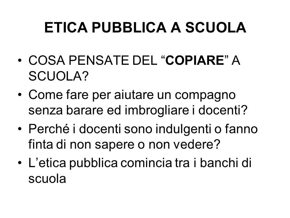 ETICA PUBBLICA A SCUOLA