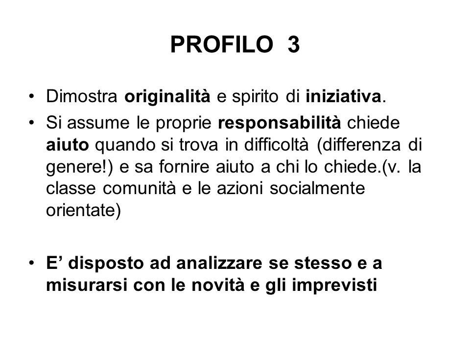 PROFILO 3 Dimostra originalità e spirito di iniziativa.