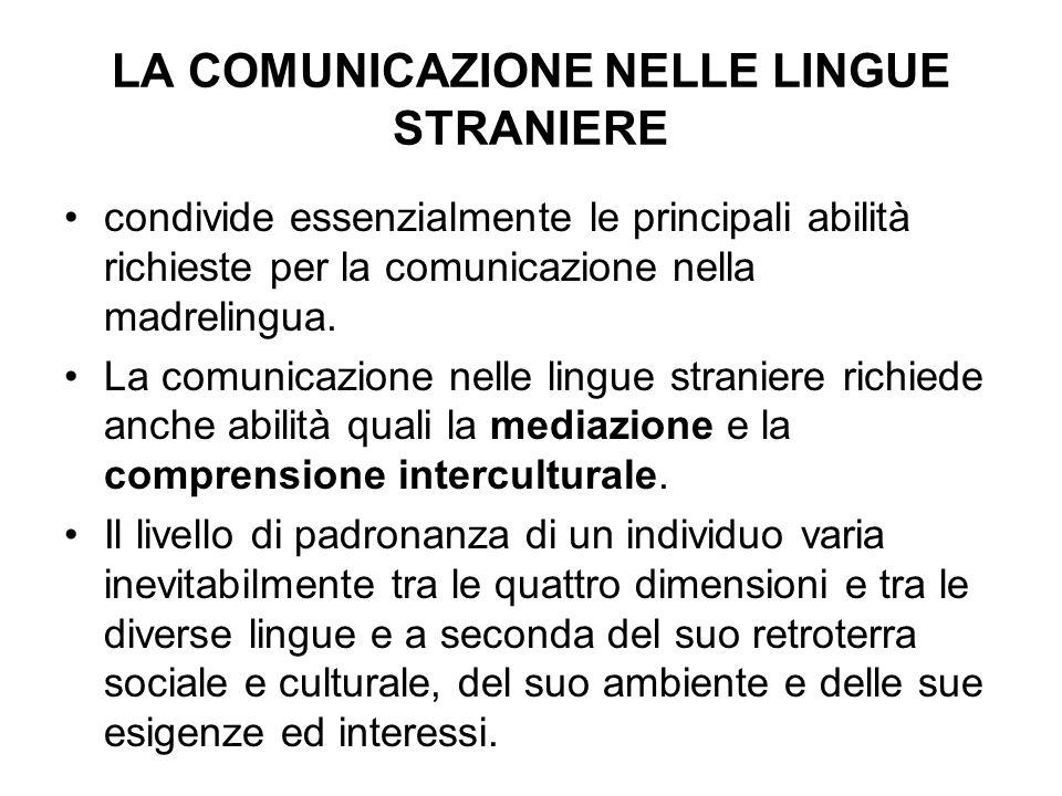 LA COMUNICAZIONE NELLE LINGUE STRANIERE