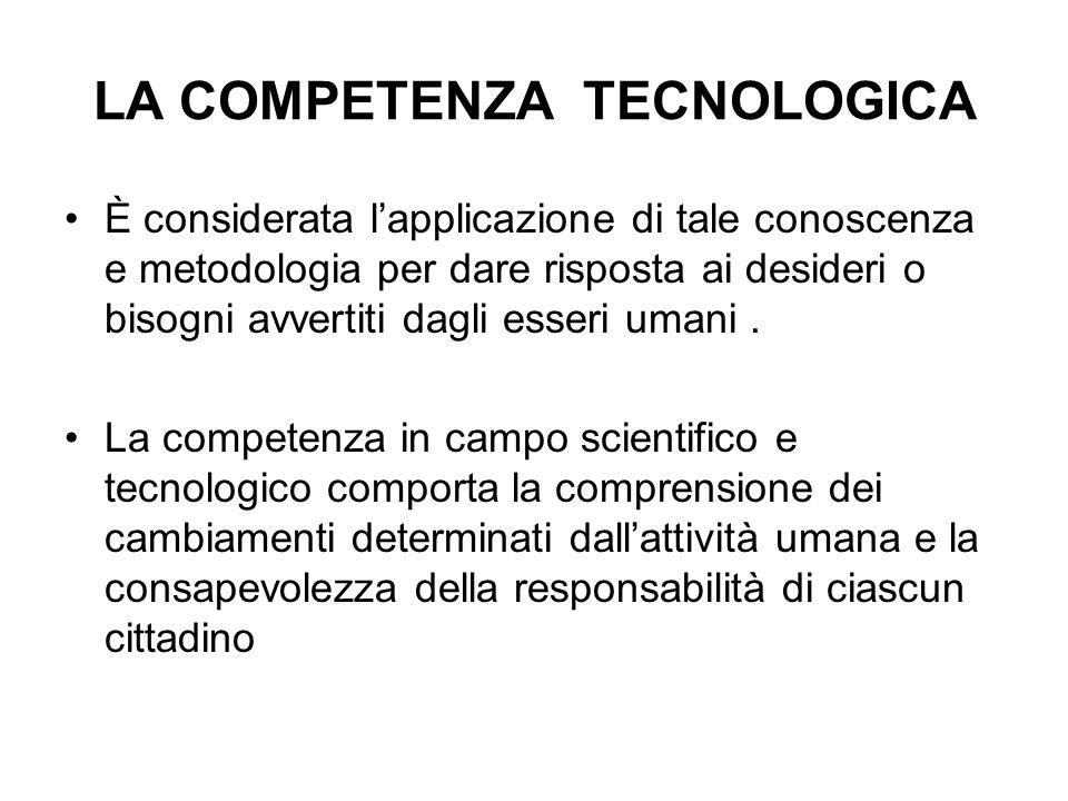 LA COMPETENZA TECNOLOGICA