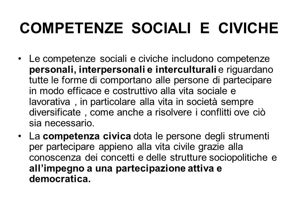 COMPETENZE SOCIALI E CIVICHE
