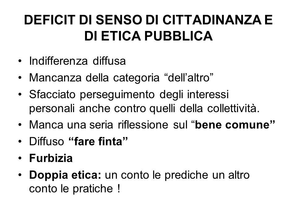 DEFICIT DI SENSO DI CITTADINANZA E DI ETICA PUBBLICA