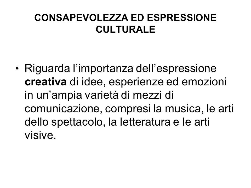 CONSAPEVOLEZZA ED ESPRESSIONE CULTURALE