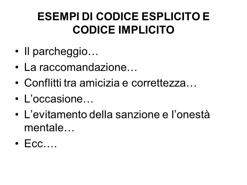 ESEMPI DI CODICE ESPLICITO E CODICE IMPLICITO