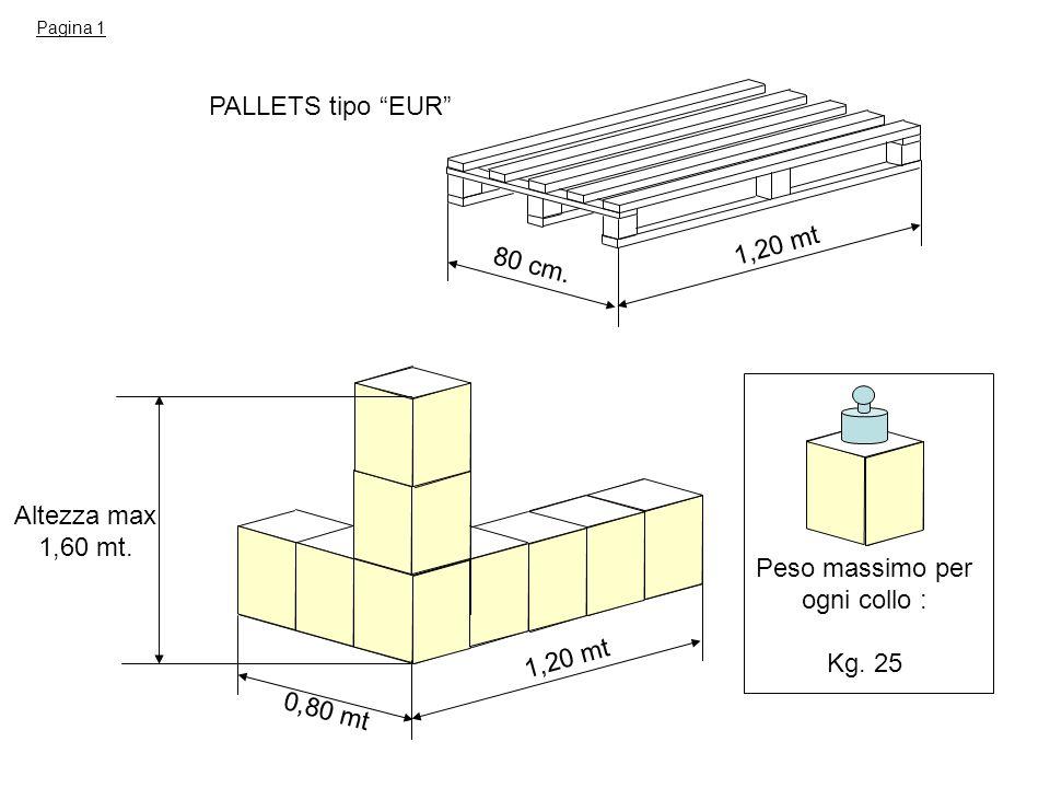 PALLETS tipo EUR 1,20 mt 80 cm. Altezza max 1,60 mt.