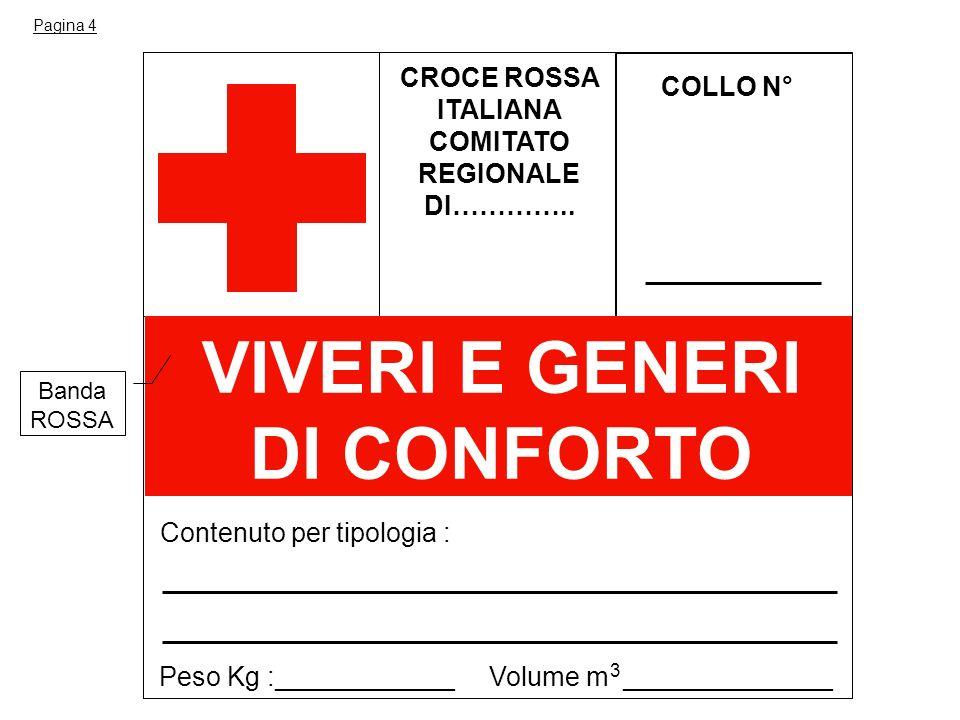 COMITATO REGIONALE DI………….. VIVERI E GENERI DI CONFORTO
